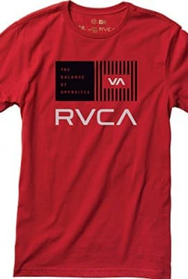 RVCA Men's Balance Bars T-Shirt, Red, Large