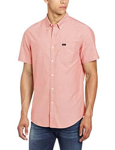 RVCA Men's That'Ll Do Short Sleeve Shirt, Red Clay, Large