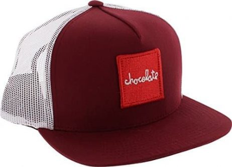 Chocolate Red Square Maroon / White Adjustable Mesh Hat