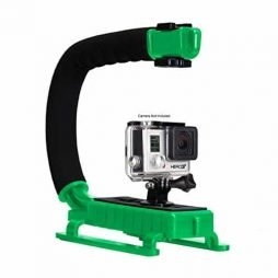 Opteka X-GRIP Professional Action Stabilizing Handle Specifically Made for GoPro HD Hero5, Hero4, Hero3 and Session with Accessory Shoe for Flash, Mic, or Video Light (Green)