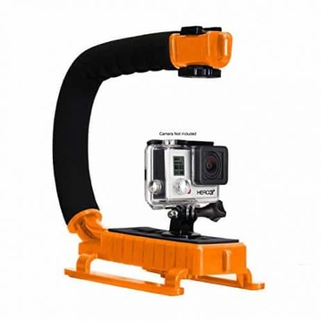 Opteka X-GRIP Professional Action Stabilizing Handle Specifically Made for GoPro HD Hero5, Hero4, Hero3 and Session with Accessory Shoe for Flash, Mic, or Video Light (Orange)
