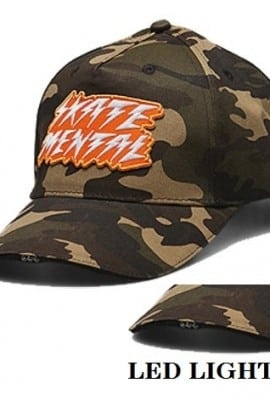 Skate Mental Bolts Shine Led Lights Skateboard Snapback Adjustable Hat CAMO