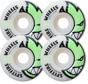 Spitfire Bighead 53mm White W Green Skate Wheels