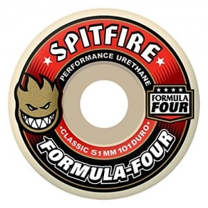 Spitfire Formula 4 101d Classic 53mm White W Red Skate Wheels