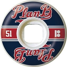 Plan B Past Time White / Blue / Red Skateboard Wheels - 51mm 99a (Set of 4)