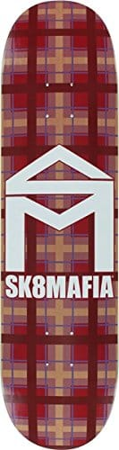 "Sk8mafia Skateboards House Logo Plaid Red Skateboard Deck - 8"" x 32"""