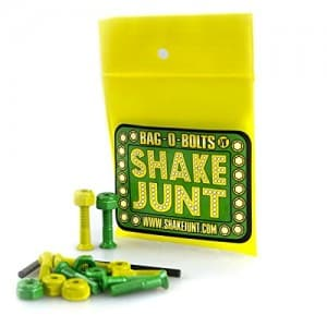 "Shake Junt Bag O Bolts All Green & Yellow 7 8"" Phillips 1set Skateboarding Hardware"