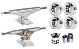 Independent Silver 139mm Truck 8.0″ Package Skateboard Bones 100's Wheels 53mm mm Abec 7 Bearings