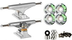 Independent Silver 139mm Truck 8.0″ Package Skateboard Spitfire Wheels 53mm Abec 7 Bearings