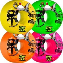 BONES WHEELS Party Pack II Wheels, 52mm, Pink/Green/Yellow/Orange