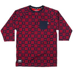 DGK Checkers Custom 3/4 Sleeve Pocket T-Shirt - Red - SM