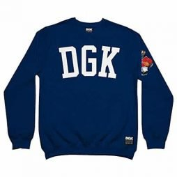 DGK Men's American Icon Crew Fleece Sweatshirt Navy Blue