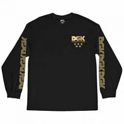 DGK Men's Division Metallic LS T Shirt Black
