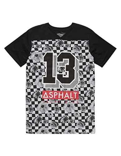AYC Checkerboard Floral Boys T-Shirt, Black, X-Large