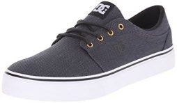 DC Men's Trase TX SE Skate Shoe, Black/Gunmetal/White, 13 M US