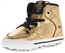 Supra Vaider Skate Shoe – Infants' Gold Leather/Padded Black Mesh, 4.0
