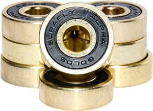 SupaFly Alpha Aggressive Skateboard LongBoard Roller Skate Bearings ­ Set of 8 - with Bonus Metal Carrying Case