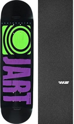 Jart Skateboards Classic Black / Purple / Lime Skateboard Deck – 8.25″ x 32.18″ with Jessup Die-Cut Grip Tape – Bundle of 2 items