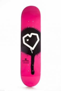 Blueprint Skateboards Spray Heart Deck (Magenta, 7.5-Inch)