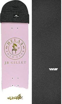 "Cliche Skateboards JB Gillet Helas Magenta Skateboard Deck Includes Free Beanie - 8"" x 31.7"" with Jessup Die-Cut Grip Tape - Bundle of 2 items"