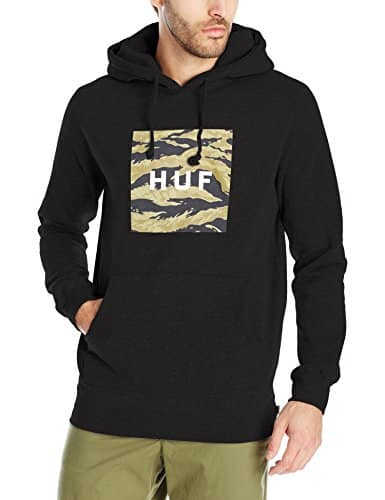 HUF Men's Golden Camo Stripe Box Logo Pullover Hood