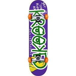 KROOKED RIGHT HOOK MINI SKATEBOARD COMPLETE-7.38 PUR/GRN