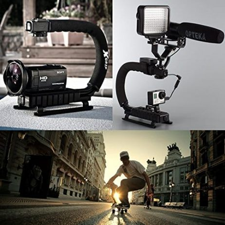 Opteka X-GRIP Professional Camera / Camcorder Action Stabilizing Handle with Accessory Shoe + LED Light + 67″ Monopod