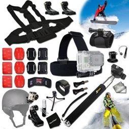 Xtech® SKATEBOARD ACCESSORIES Kit for GoPro Hero 4 3+ 3 2 1 Hero4 Hero3 Hero2, Hero 4 Silver, Hero 4 Black, Hero 3+ Hero3+ Hero 3 Silver, Hero 3 Black and for Skiing, Ski-Bobbing, Ski Jumping, Snowboarding, Skateboarding, Rollerblading, Skating, Ice Skating, Roller Skating and other Similar Sports Activities Includes: Head Strap Mount + Selfie Stick Monopod Pole + Helmet Harness Mount + Chest Strap Mount + Camera Wrist Mount + MORE