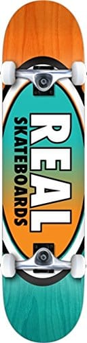 "Real Skateboards Oval II Fade Small Teal / Orange Complete Skateboard - 7.5"" x 31"""