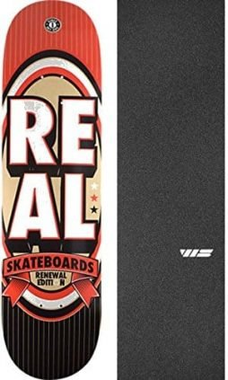 "Real Skateboards Renewal Stack Red Skateboard Deck - 8.25"" x 32"" with Jessup Die-Cut Grip Tape - Bundle of 2 items"