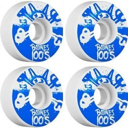 Bones Wheels 100's #10 Natural / Blue Skateboard Wheels - 53mm 100a (Set of 4)