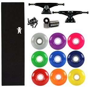 TENSOR Skateboard TRUCKS Kit Mag Slider BLACK GRIZZLY BEAR GRIP, BEARINGS WHEELS