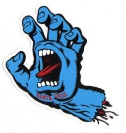 Santa Cruz Screaming Hand Skateboard Sticker in Blue - Jim Phillips Design 15cm NEW