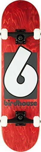 Birdhouse Skateboards Premium Quality B Logo Complete Skateboard, Red, 8.0""