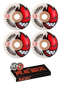 Spitfire 52mm Wheels Bighead White/Red Skateboard Wheels - 99a with Bones Bearings - 8mm Bones Reds Precision Skate Rated Skateboard Bearings (8) Pack - Bundle of 2 Items