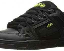DVS Men's Comanche Skateboarding Shoe, Black Lime Leather Nubuck, 11 UK/12 M US