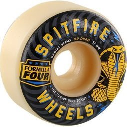 Spitfire F4 Radial Slim Skate Wheels Set White Black 51mm/99du