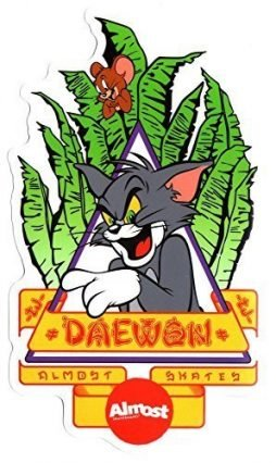 Almost – Tom and Jerry / Daewon Song – Natas Kaupas Tribute Skateboard Sticker – 14.5cm high approx. skateboarding sk8