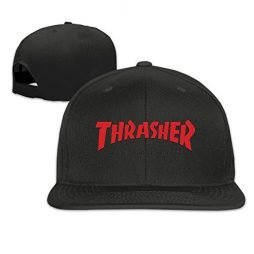 Male/Female THRASHER SKATEBOARD MAGAZINE Cotton Flat Snapback Baseball Caps Adjustable Mesh Hat Snapback Hip Hop Hat Pink One Size Fits Most