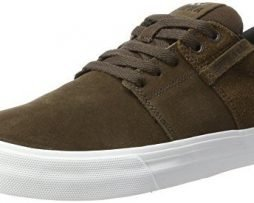 SUPRA Stacks Vulc II Shoes (Demitasse/White) Men's Suede Skating Sneakers