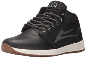 Lakai Griffin Mid WT Skate Shoe, Black Leather, 8.5 M US
