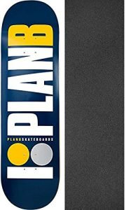 "Plan B Skateboards OG Navy Skateboard Deck - 8.75"" x 33"" with Mob Grip Perforated Griptape - Bundle of 2 items"