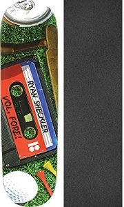 "Plan B Skateboards Ryan Sheckler Mix Tape Skateboard Deck Black Ice - 8.25"" x 31.125"" with Mob Grip Perforated Griptape - Bundle of 2 items"