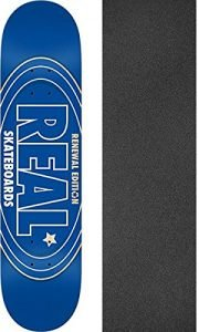 "Real Skateboards Renewal Oval Blue Skateboard Deck - 7.75"" x 31.25"" with Jessup Griptape - Bundle of 2 items"