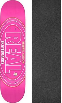 "Real Skateboards Renewal Oval Pink Skateboard Deck - 8.5"" x 32.5"" with Jessup Griptape - Bundle of 2 items"