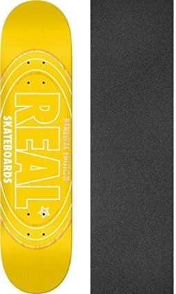 "Real Skateboards Renewal Oval Yellow Skateboard Deck - 8.06"" x 32"" with Jessup Griptape - Bundle of 2 items"