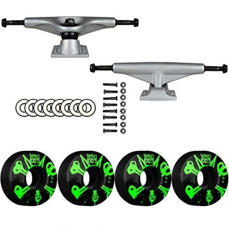 SKATEBOARD PACKAGE Tensor Aluminum 5.25 Raw Trucks Bones 52mm 100's V4 Wheels