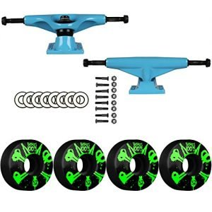 "SKATEBOARD PACKAGE Tensor Magnesium 5.0"" Blue Trucks Bones 52mm 100's V4 Wheels"