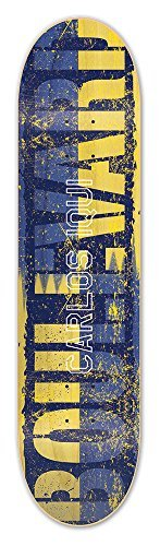 Blvd Skateboards Carlos Iqui Split Skateboard Deck, Blue/Yellow/Black