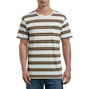 Volcom Men's Belfast Crew Short Sleeve Striped Knit Pocket Shirt, White, XS